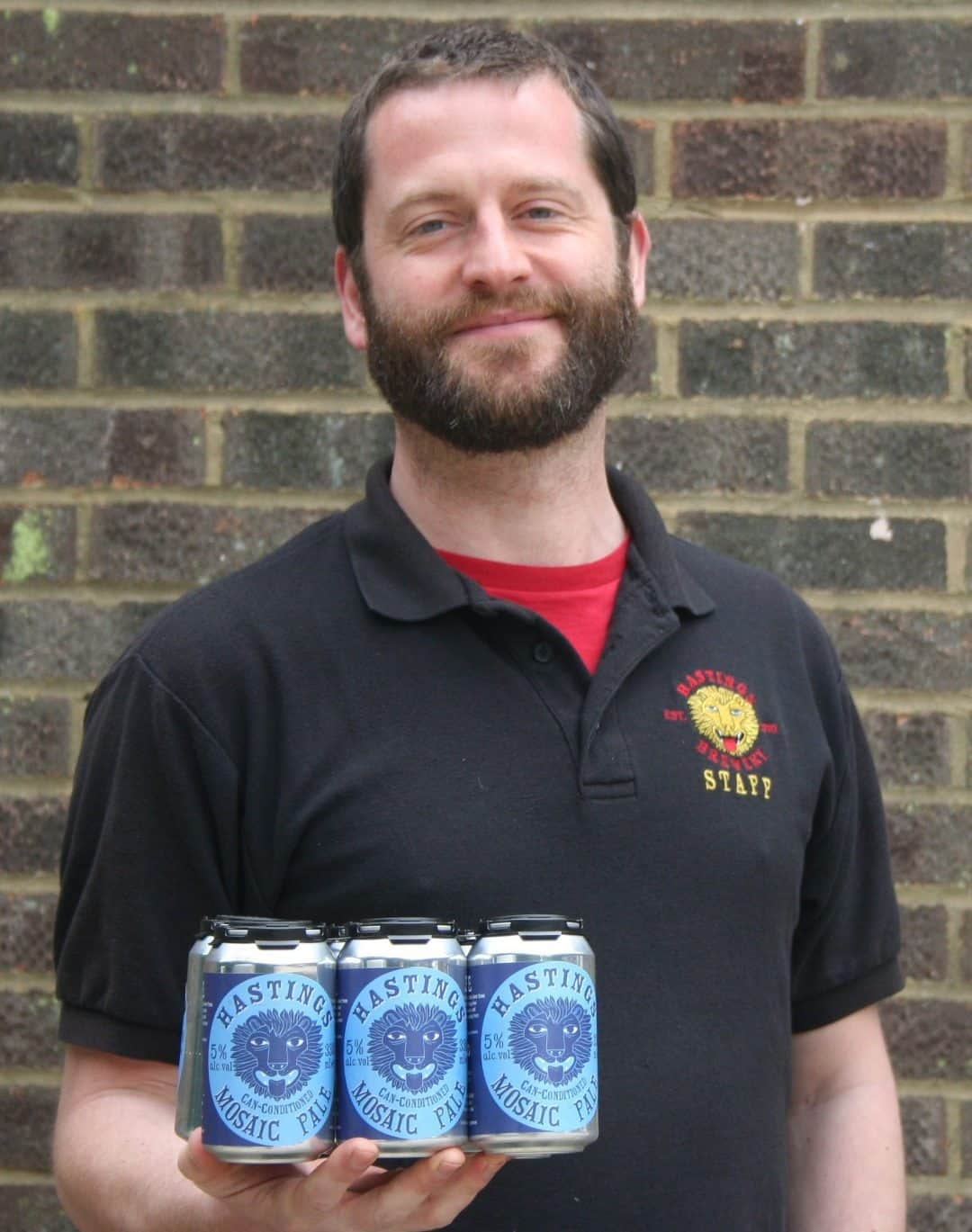 Pete from Hastings Brewery showing off his can conditioned beer